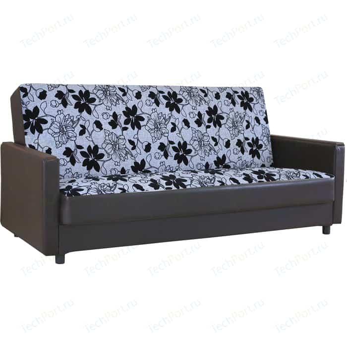 Диван книжка Шарм-Дизайн Классика Д 120 шенилл серый цветы+экокожа коричневый кресло шарм дизайн классика д шенилл светло коричневый