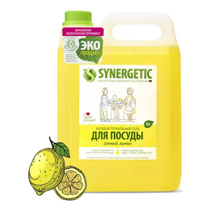 Средство для мытья посуды и фруктов Synergetic Лимон, концентрированное, 5 л средства для мытья посуды synergetic средство для мытья посуды synergetic лимон 1 л