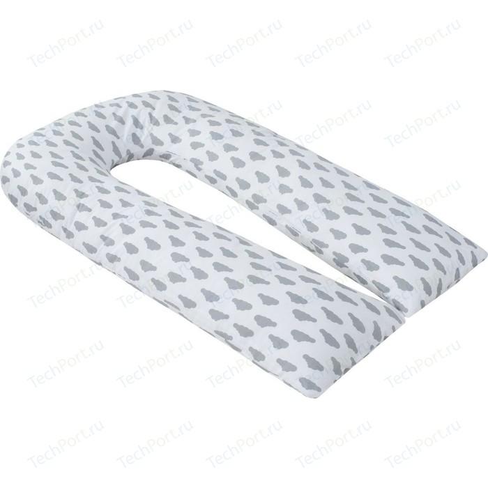 Наволочка к подушке для беременных AmaroBaby U - образная 340х35 (Облака вид серый)