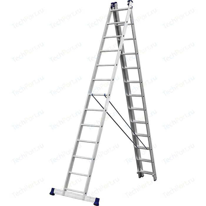 Лестница трехсекционная Сибин со стабилизатором 13 ступеней (38833-13)