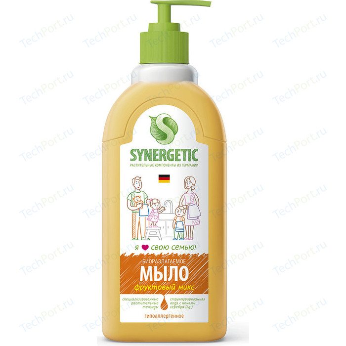 Жидкое мыло Synergetic Фруктовый микс, с дозатором, 500 мл