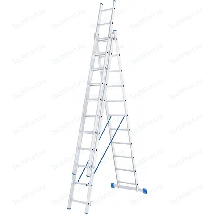 Фото - Лестница трехсекционная СибрТех 11 ступеней (97821) лестница сибртех 3 х 7 ступеней алюминиевая трехсекционная