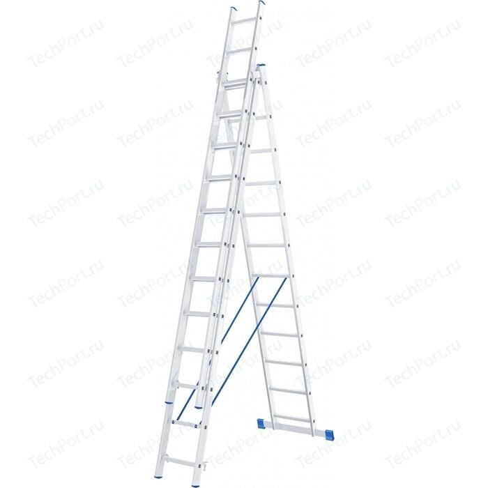 Фото - Лестница трехсекционная СибрТех 12 ступеней (97822) лестница сибртех 3 х 7 ступеней алюминиевая трехсекционная