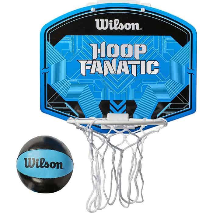 Набор для мини-баскетбола Wilson Hoop Fanatic Mini hoop kit WTBA00435 (оранжевый щит с кольцом и сеткой, мягкий бело-синий мяч р. 1)