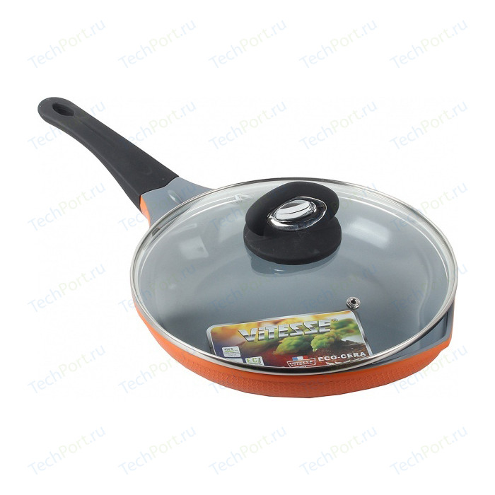 Сковорода с крышкой Vitesse d 24см Peach (VS-2529 Оранжевый)