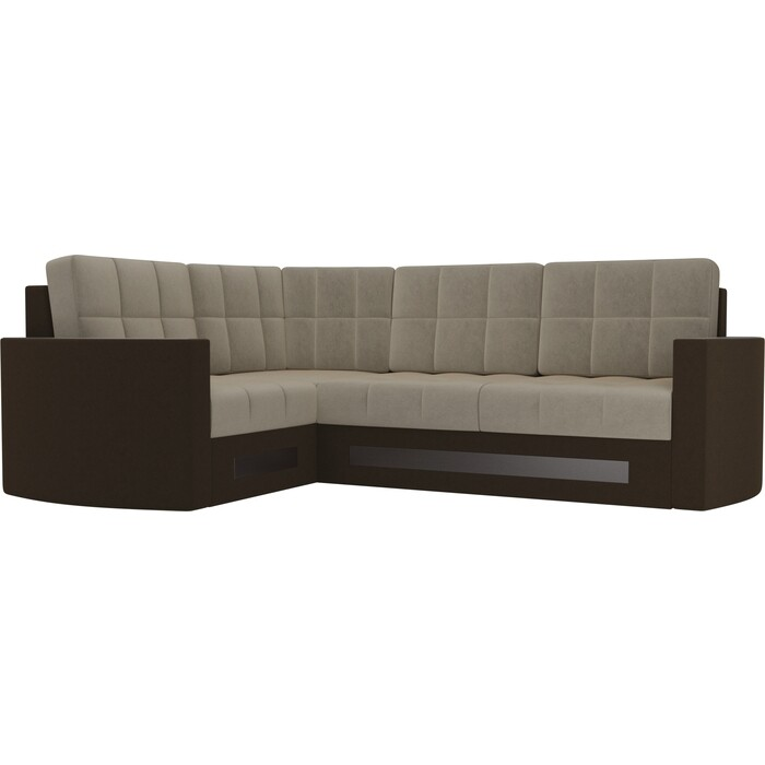 Диван угловой Мебелико Белла У микровельвет бежево-коричневый левый диван угловой мебелико белла у микровельвет коричневый правый