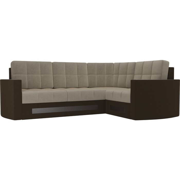 Фото - Диван угловой Мебелико Белла У микровельвет бежево-коричневый правый диван угловой мебелико сенатор микровельвет бежево коричневый правый