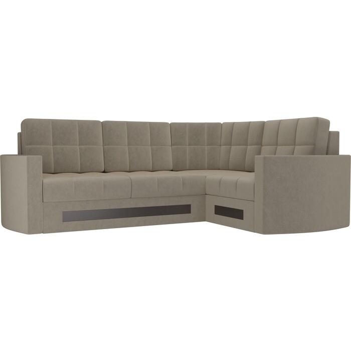 Диван угловой Мебелико Белла У микровельвет бежевый правый диван угловой мебелико белла у микровельвет коричневый правый
