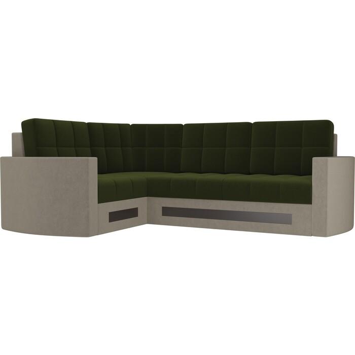 Диван угловой Мебелико Белла У микровельвет зелено-бежевый левый диван угловой мебелико белла у микровельвет коричневый правый