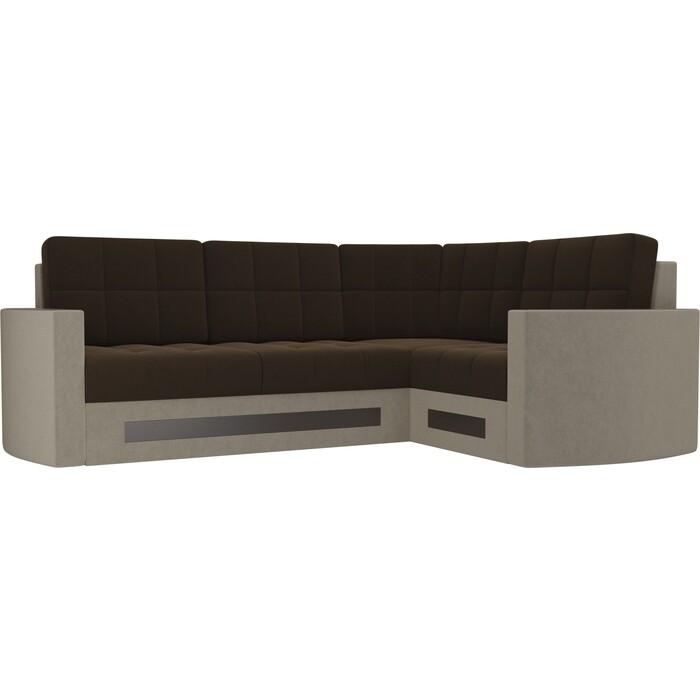 Диван угловой Мебелико Белла У микровельвет коричнево-бежевый правый диван угловой мебелико белла у микровельвет коричневый правый