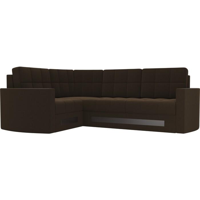 Диван угловой Мебелико Белла У микровельвет коричневый левый диван угловой мебелико белла у микровельвет коричневый правый