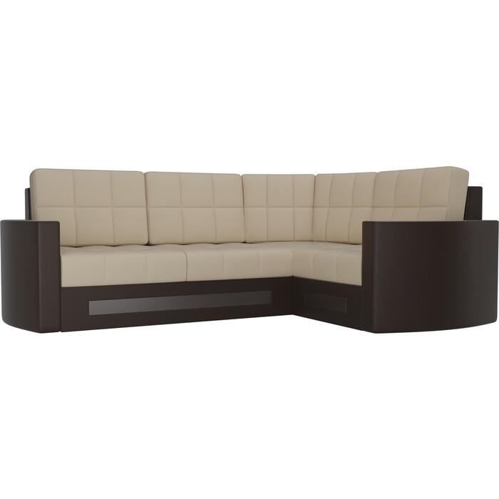 Диван угловой Мебелико Белла У эко-кожа бежево-коричневый правый диван угловой мебелико белла у микровельвет коричневый правый
