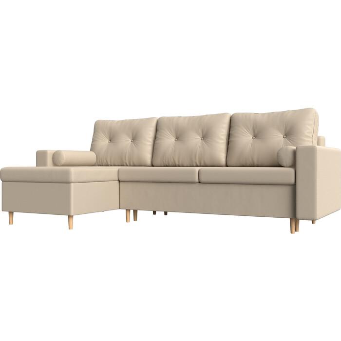 цена Угловой диван Мебелико Белфаст эко-кожа бежевый левый угол онлайн в 2017 году