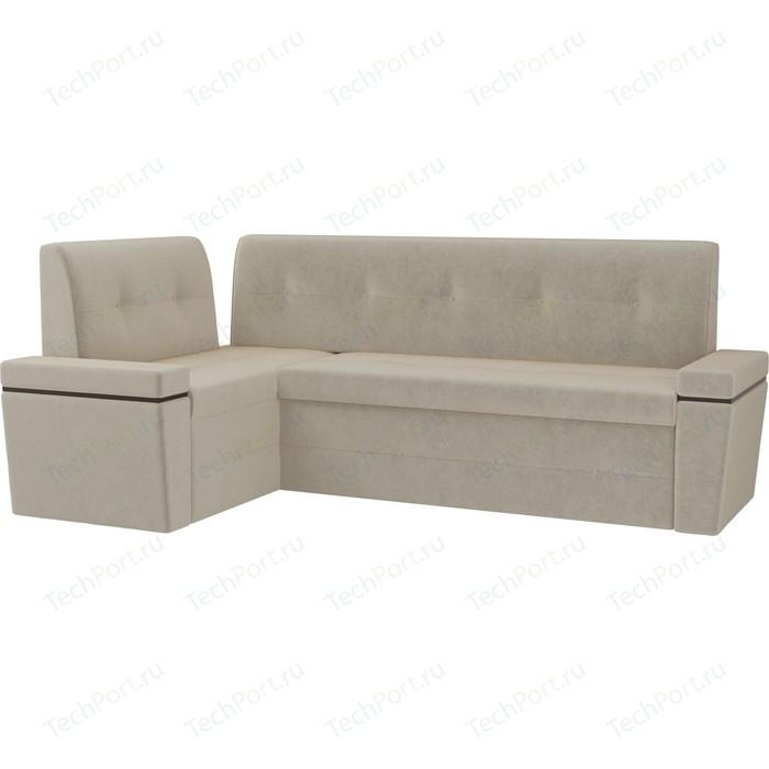 Кухонный угловой диван Мебелико Деметра микровельвет (бежевый левый угол