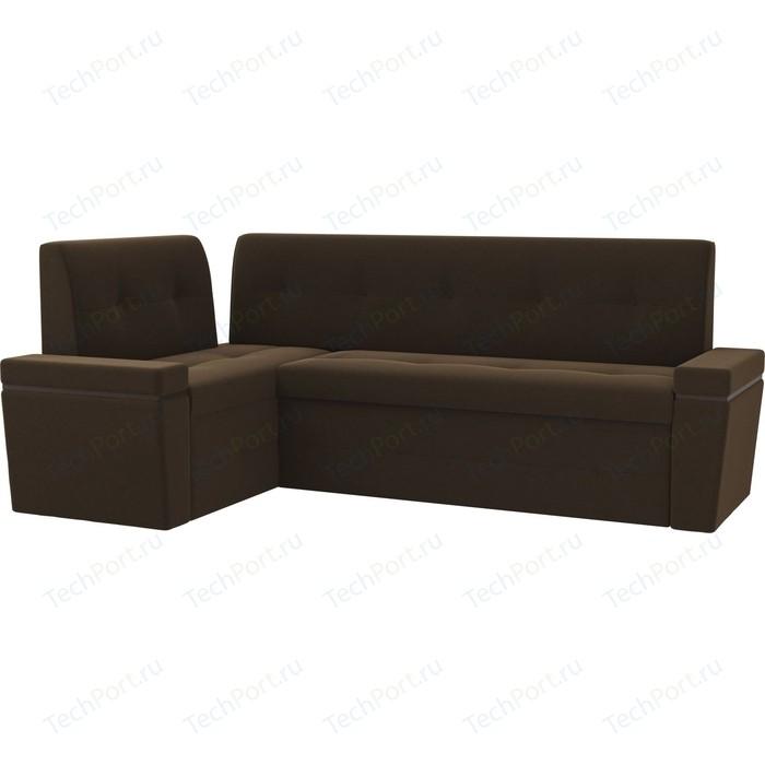 Кухонный угловой диван Мебелико Деметра микровельвет (коричневый) левый угол