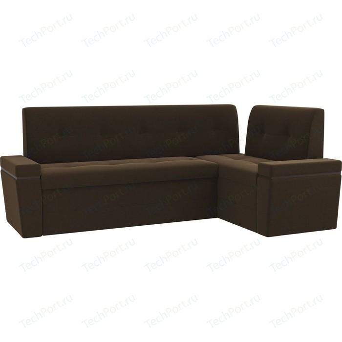 Фото - Кухонный угловой диван Мебелико Деметра микровельвет (коричневый) правый угол кухонный угловой диван мебелико салвадор микровельвет бежево коричневый правый угол