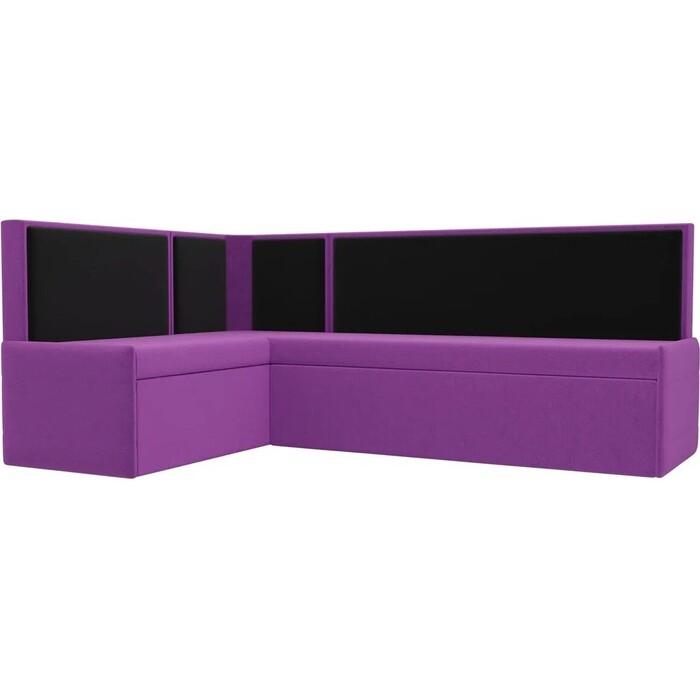 Кухонный угловой диван Мебелико Кристина микровельвет фиолетово/черный левый