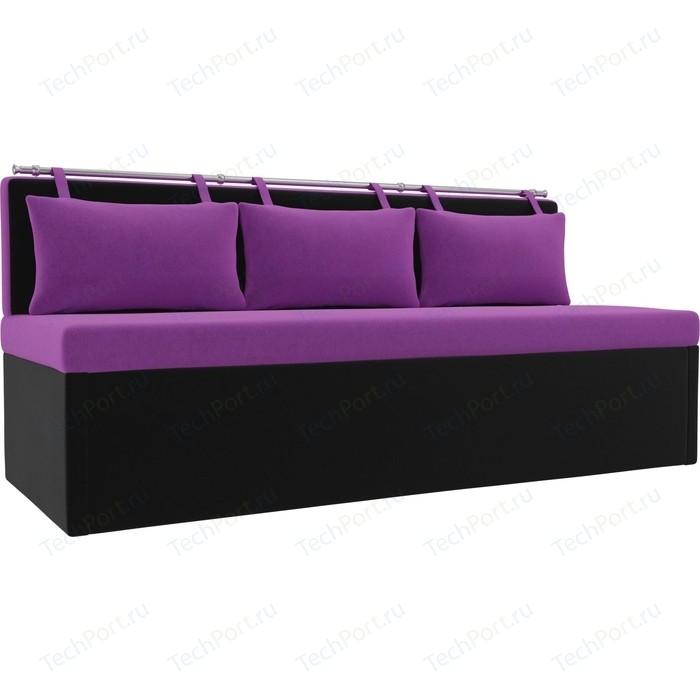 Кухонный диван Мебелико Метро микровельвет фиолетово-черный