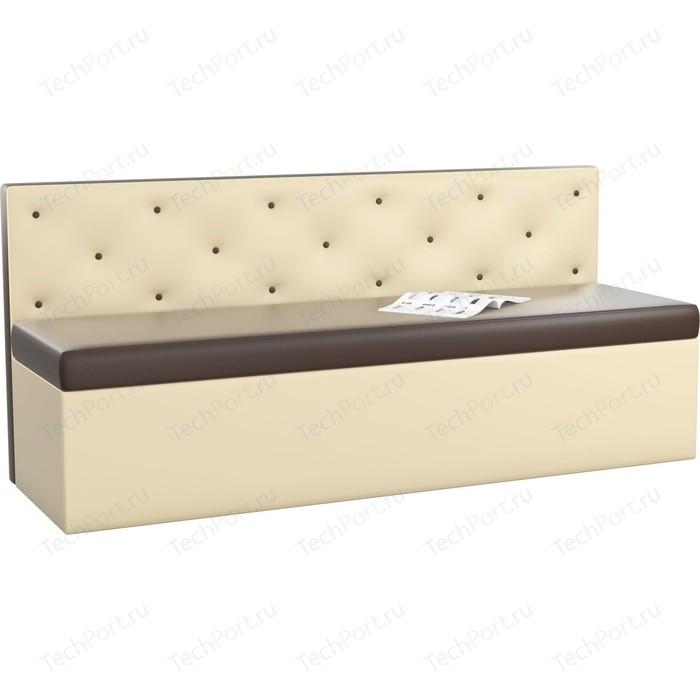 Кухонный диван Мебелико Салвадор эко-кожа коричнево-бежевый