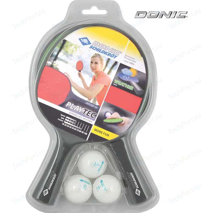 Набор для настольного тенниса Donic PLAYTEC OUTDOOR (2 ракетки, 3 мячика)