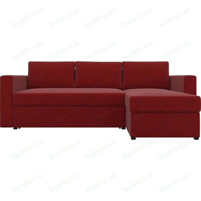 Диван угловой АртМебель Турин микровельвет красный правый угол диван угловой артмебель сатурн микровельвет красный правый