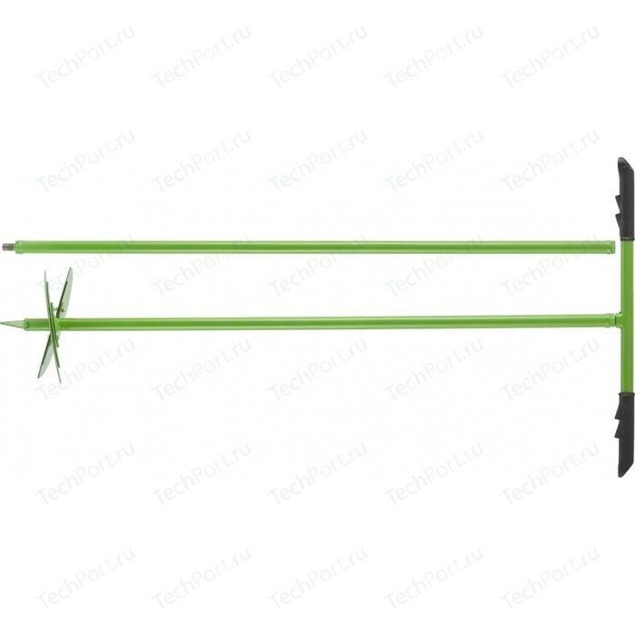 Бур почвенный ручной СибрТех 1110 мм с удлинителем 1000 мм, сменные ножи D 150 200 (64399)