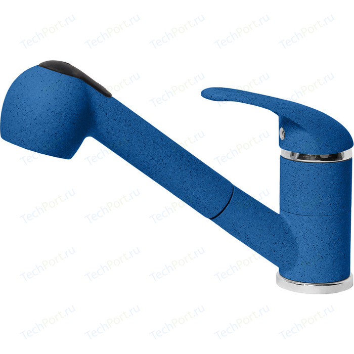 Смеситель для кухни AquaGranitEx с выдвижным изливом, синий (C-4040 (323))