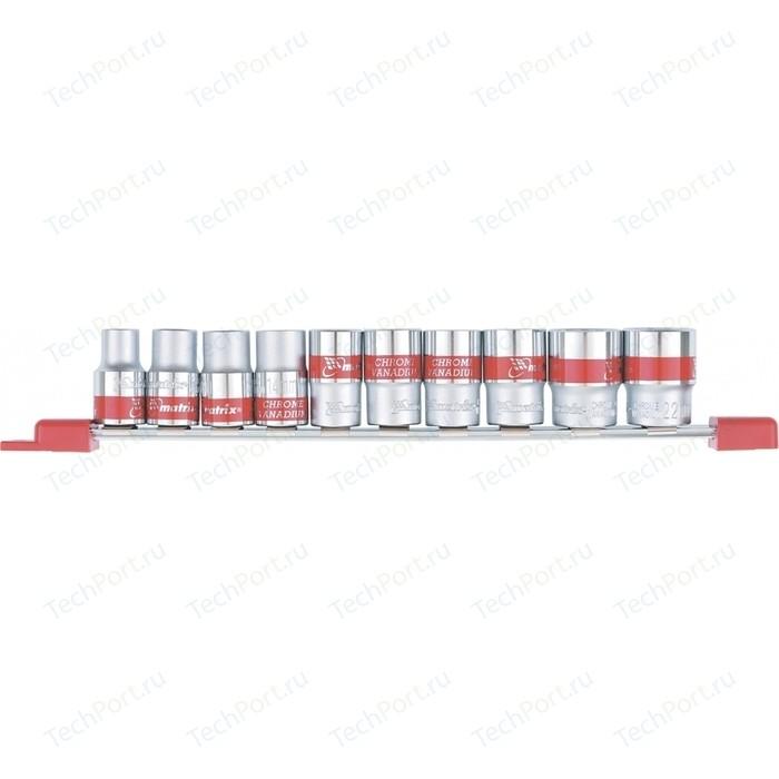 Набор торцевых головок Matrix 1/2 10-22 мм 10шт Spline CrV (13597)