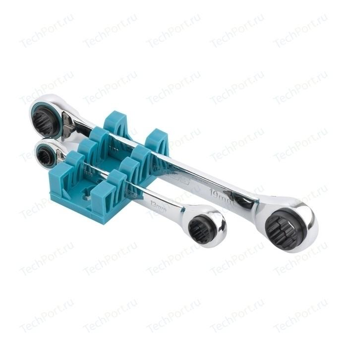 Ключи накидные с трещеткой GROSS 8-19 мм 2шт многоразмерные реверсивные CrV (14893) ключ телескопический трещоточный 1 4 150 200 мм crv хромир 2 х комп рукоятка gross
