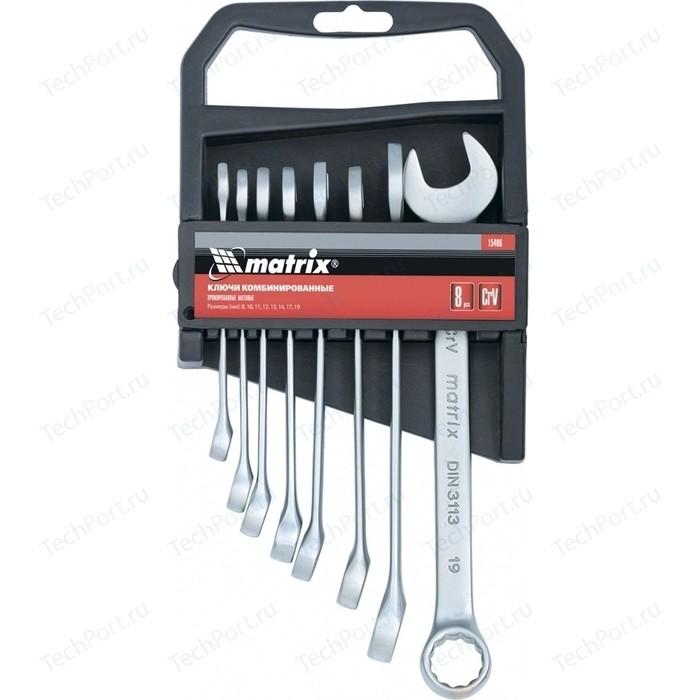 Набор ключей комбинированных Matrix 8-19 мм 8шт CrV (15406) набор комбинированных ключей matrix 15406 8 19 мм 8 шт