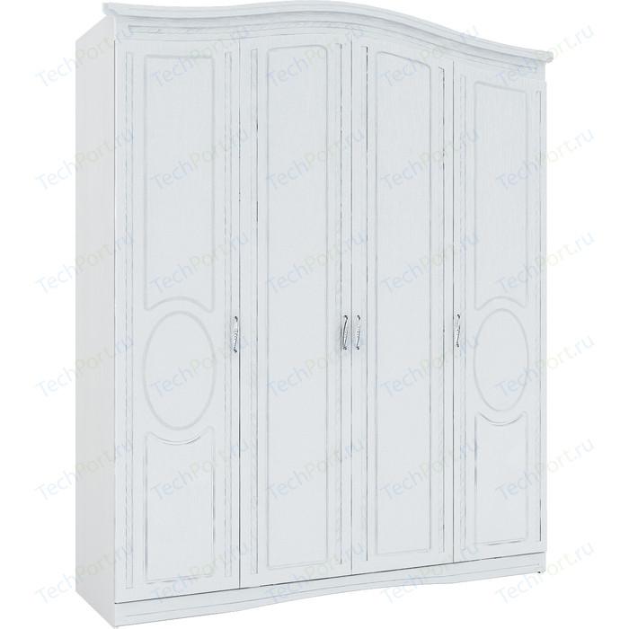 Шкаф четырехдверный Комфорт - S Гертруда М 1 белая лиственница/ясень жемчужный