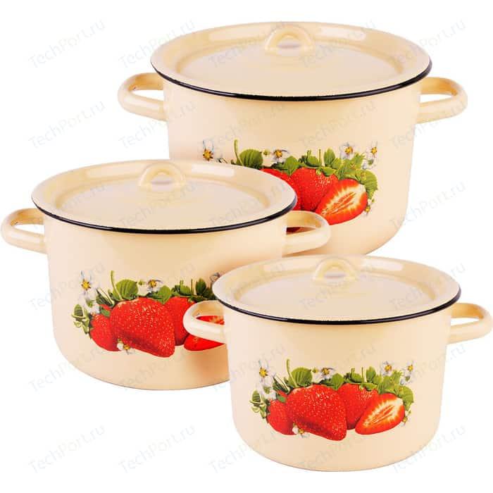 Набор эмалированной посуды 3 предмета СтальЭмаль Клубника садовая 1с33