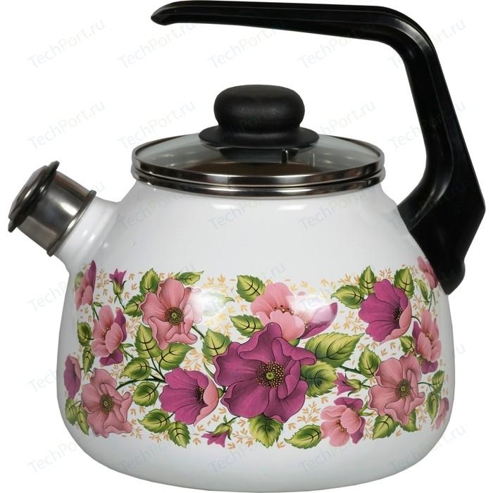 Чайник эмалированный со свистком 3.0 л Vitross Violeta белый 1RC12