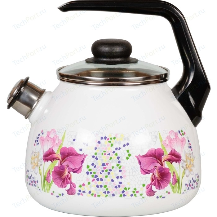 Чайник эмалированный со свистком 3.0 л СтальЭмаль Мозайка 4с209я
