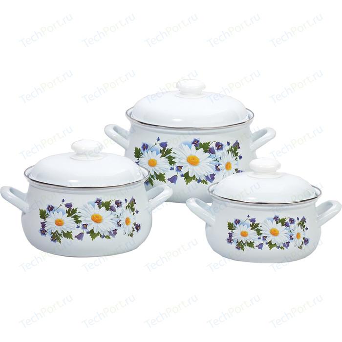 Набор эмалированной посуды 3 предмета Лысьвенские эмали Ромашковое поле 129АП2/4