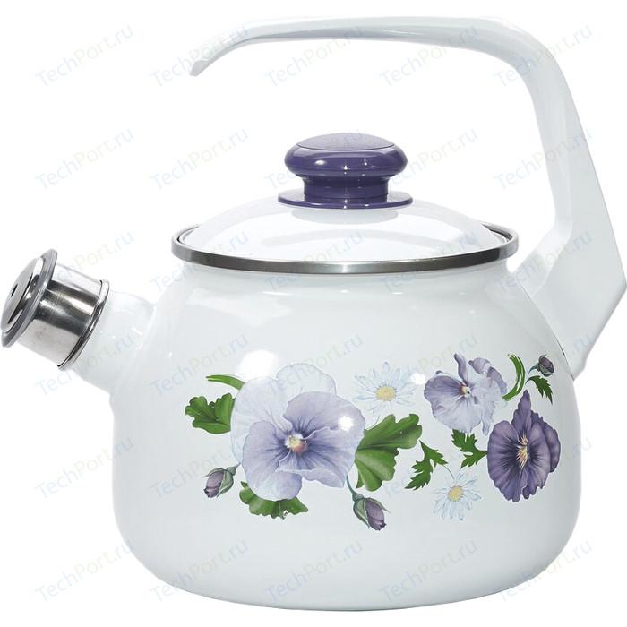 Чайник эмалированный 2.5 л Лысьвенские эмали Анютины глазки 2711АП/4