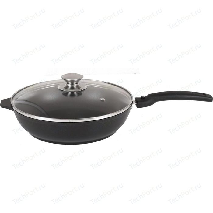 Сковорода со съемной ручкой и крышкой Kukmara d 24см Традиция (с247а) сковорода d 26 см со съемной ручкой kukmara кофейный мрамор смк263а
