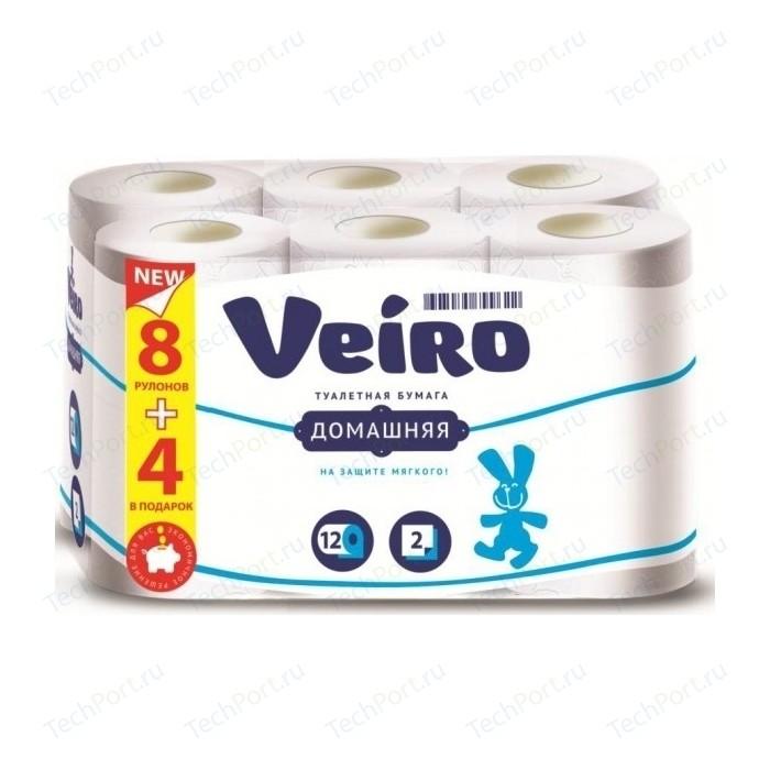 Туалетная бумага Veiro Домашняя белая 2 слоя 12 рулонов