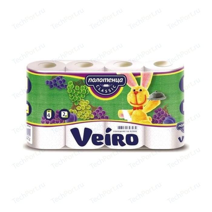 полотенца бумажные veiro classic plus 2 рулона Бумажные полотенца Veiro Classic белые 2 слоя 4 рулона 50 листов