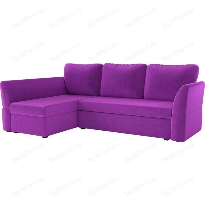 Фото - Диван угловой АртМебель Гесен микровельвет фиолетовый левый угол угловой диван артмебель белфаст микровельвет фиолетовый левый угол