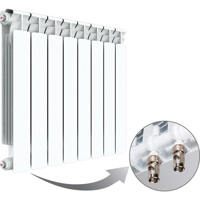 Радиатор отопления RIFAR ALP VENTIL 500 8 секций биметаллический нижнее левое подключение (R50008AVL) биметаллический радиатор rifar рифар b 500 нп 10 сек лев кол во секций 10 мощность вт 2040 подключение левое