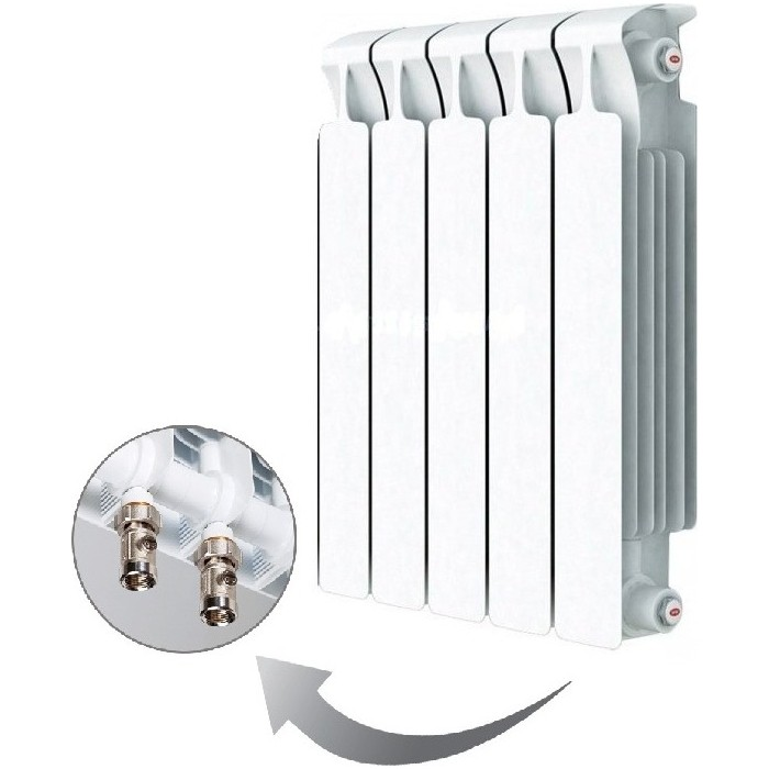Радиатор отопления RIFAR MONOLIT VENTIL 500 5 секций биметаллический нижнее правое подключение (RM50005НП50) радиатор отопления rifar monolit ventil 500 6 секций биметаллический нижнее правое подключение rm50006 нп50