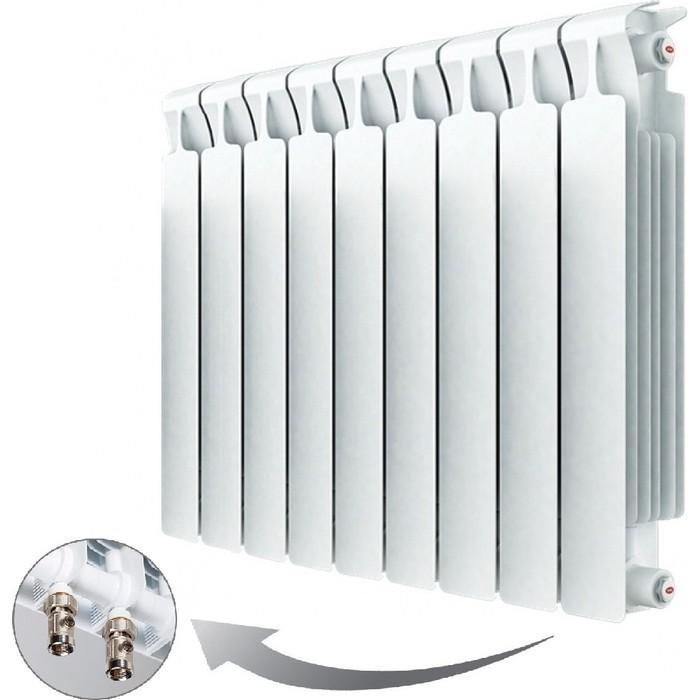 Радиатор отопления RIFAR MONOLIT VENTIL 500 9 секций биметаллический нижнее правое подключение (RM50009НП50) радиатор отопления rifar monolit ventil 500 mvr 12 секций биметаллический нижнее правое подключение rm50012 нп50