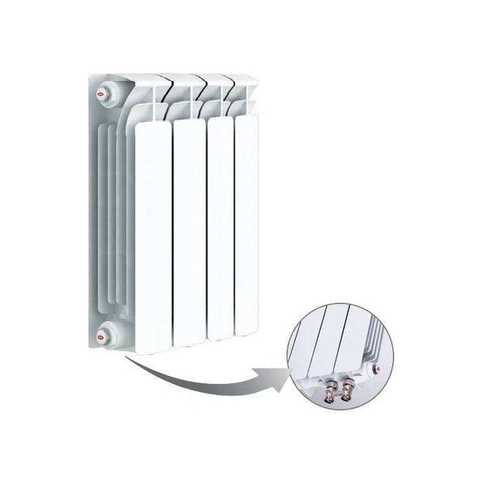 Радиатор отопления RIFAR BASE VENTIL 500 4 секции биметаллический нижнее левое подключение (R50004 НПЛ) биметаллический радиатор rifar рифар b 500 нп 10 сек лев кол во секций 10 мощность вт 2040 подключение левое
