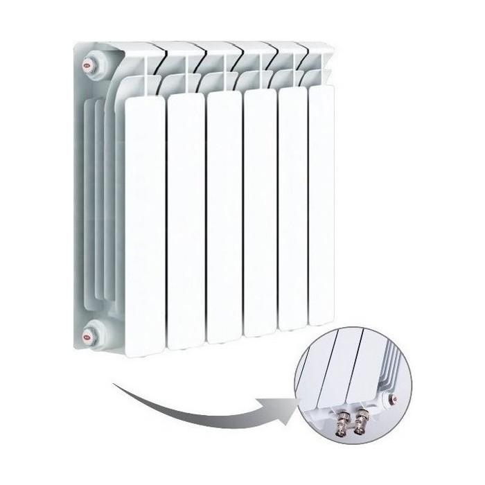 Радиатор отопления RIFAR BASE VENTIL 500 6 секций биметаллический нижнее левое подключение (R50006 НПЛ) биметаллический радиатор rifar рифар b 500 нп 10 сек лев кол во секций 10 мощность вт 2040 подключение левое