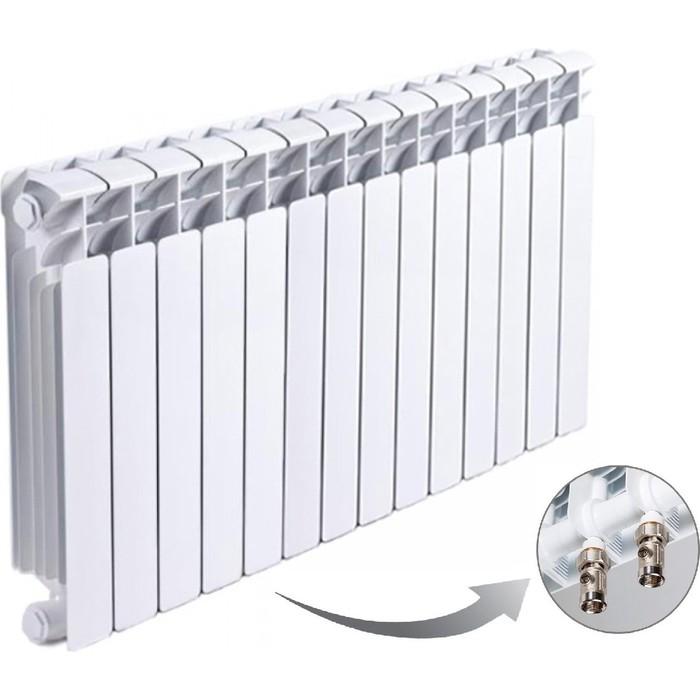 Радиатор отопления RIFAR BASE VENTIL 500 14 секций биметаллический нижнее левое подключение (R50014 НПЛ) биметаллический радиатор rifar рифар b 500 нп 10 сек лев кол во секций 10 мощность вт 2040 подключение левое