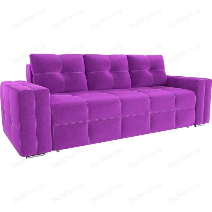 Диван прямой АртМебель Леос микровельвет фиолетовый
