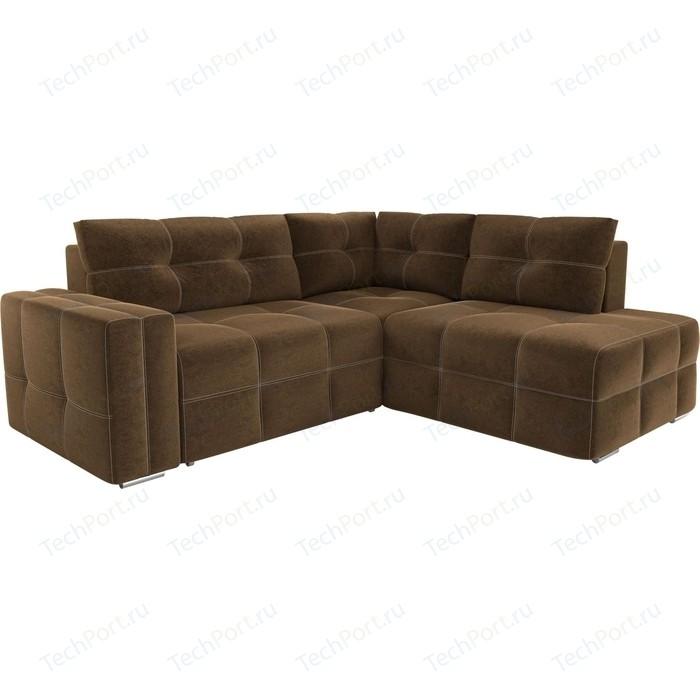 Диван угловой АртМебель Леос микровельвет коричневый правый угол диван угловой артмебель леос микровельвет бежевый правый угол