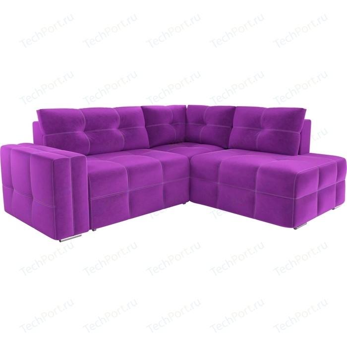 Диван угловой АртМебель Леос микровельвет фиолетовый правый угол