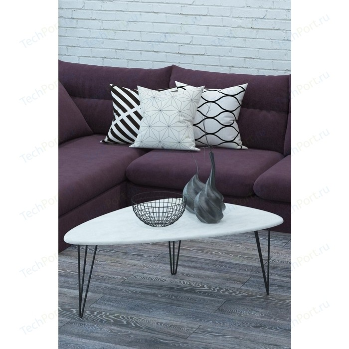 Столы журнальные Калифорния мебель Престон Белый бетон недорого